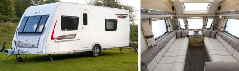 An Elddis caravan in the countryside and an interior image of the featured caravan.