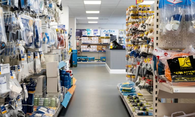 Aisles and the range of products available at Webbs Motor Caravans' accessories shop.