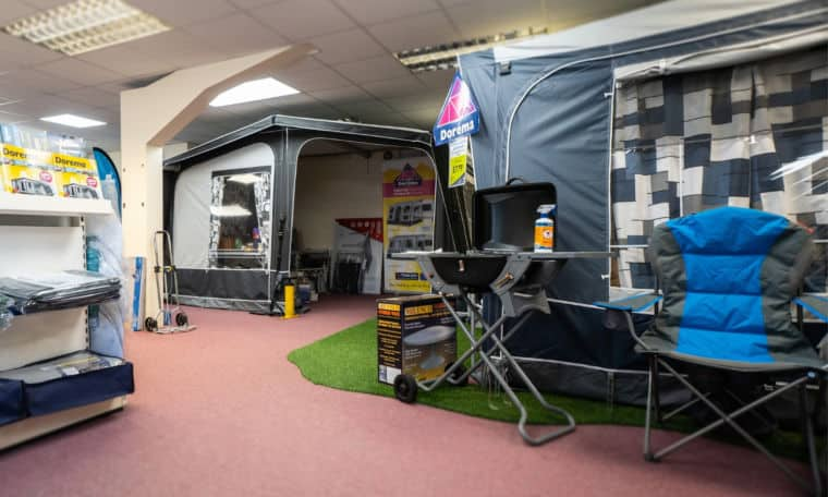 Webbs caravans' accessories shop in Salisbury with Awnings and barbecues.