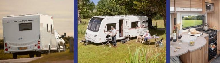 Different Bailey caravans being used on the road, in the countryside and an interior of a Bailey secondhand caravan.
