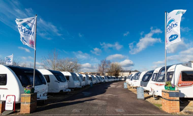 Webbs forecourt and the caravans available for sale in Salisbury.