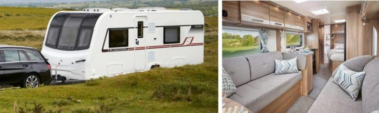 A Bailey caravan in the countryside attached to a car and an interior image.