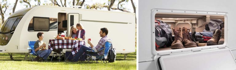 A family sitting at a table in front of a Swift caravan and an image of storage area in a caravan.