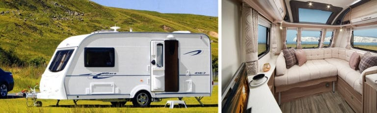 A Coachman caravan in the countryside and an interior image of the featured caravan.