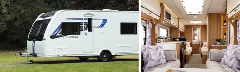 A Lunar caravan in the countryside and an interior image of the featured caravan.