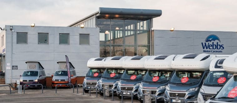 Webbs Motor Caravans' branch and the pre-owned motorhome forecourt in Reading