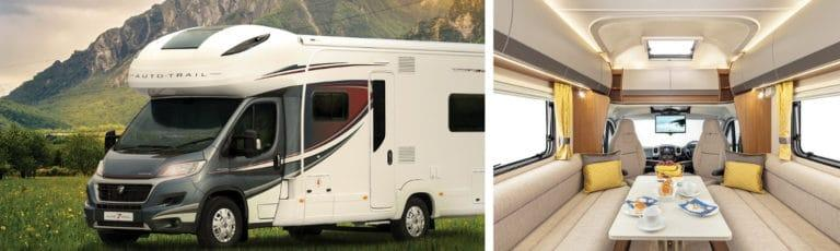 An Auto-trail motorhome parked in the countryside and the interior of the featured motorhome.