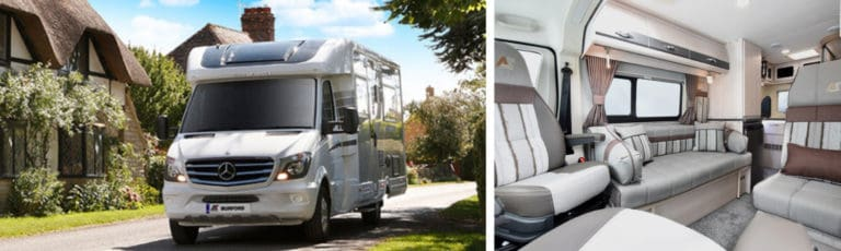 An Auto-sleeper motorhome in front of a cottage and an interior image.