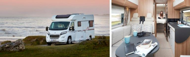 A Bailey motorhome parked in front of the sea and a picture of the interior.