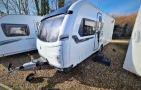Front view of a Coachman VIP 575 used caravan for sale at Webbs, Salisbury