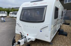 Front exterior of Bailey Pursuit Jive 560/5. Webbs Used Caravan.