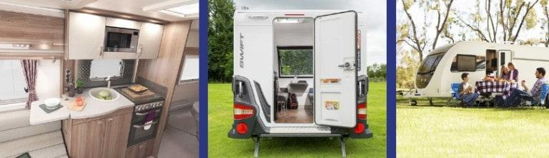Three Swift caravans that show the inside, a rear-view and people sitting in front of a Swift caravan.