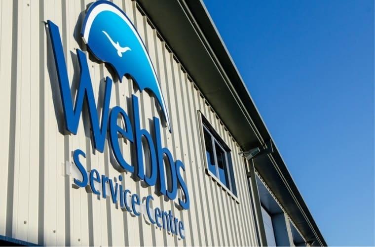 Webbs Motor Caravans sign