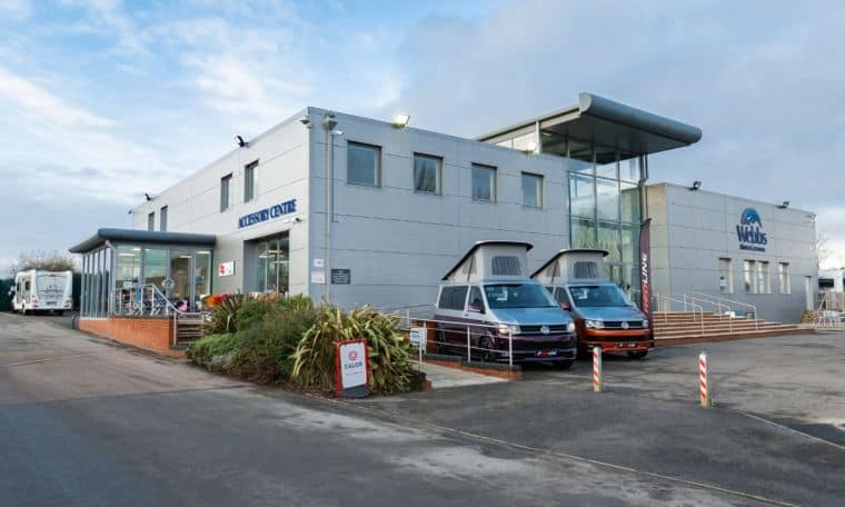 Exterior of Webbs Motor Caravans branch in Reading.